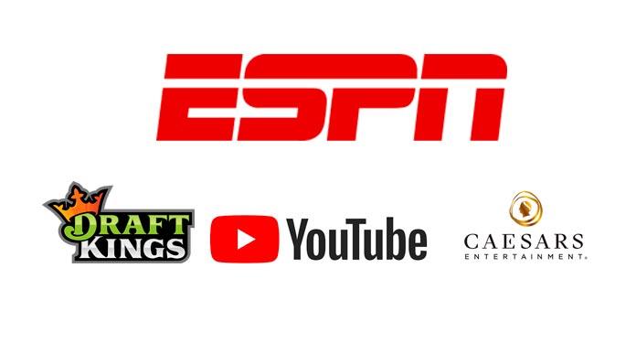 ESPN-Acerta-Parceria-de-Conteúdo-de-Apostas-Esportivas-com-Caesars-Entertainment,-DraftKings-e-Youtube