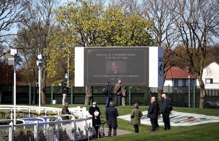 Tributes to Prince Philip were broadcast on the big screens of Aintree