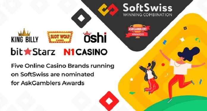 Cinco marcas de cassino online SoftSwiss estão na final do AskGamblers Awards